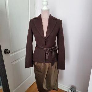 Vintage brown blazer with removable collar sz 0